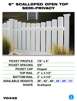 "Legacy Vinyl Fence - 6"" Scalloped Open Top Semi-Privacy Fence Section image"
