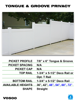 Legacy Vinyl Fence - Tongue And Groove Privacy Fence Section image