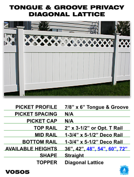 Legacy Vinyl Fence - Tongue And Groove Privacy Fence Section With Diagonal Lattice image