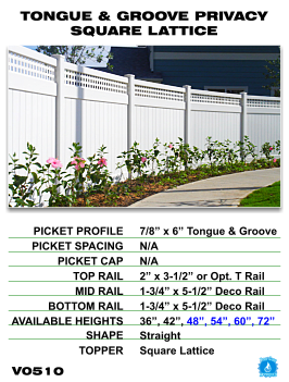 Legacy Vinyl Fence - Tongue And Groove Privacy Fence Section With Square Lattice image