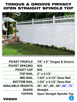 Legacy Vinyl Fence - Tongue And Groove Privacy Fence Section With Open Straight Spindle Top image