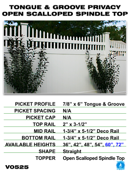 Legacy Vinyl Fence - Tongue And Groove Privacy Fence Section With Open Scalloped Spindle Top image