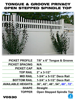Legacy Vinyl Fence - Tongue And Groove Privacy Fence Section With Open Stepped Spindle Top image