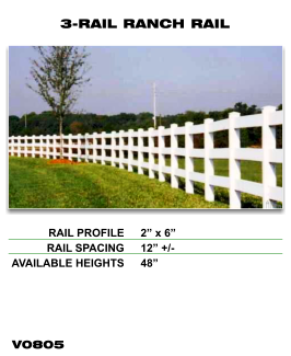 Legacy Vinyl Fence - 3-Rail Ranch Rail Fence Section image
