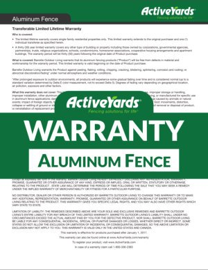 ActiveYards Warranty - Aluminum Fence