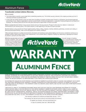 ActiveYards Warranty - Aluminum Fence