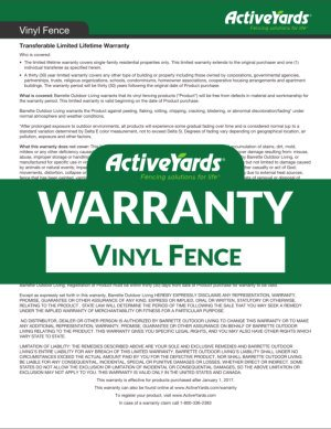 ActiveYards Warranty - Vinyl Fence