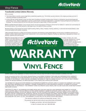 ActiveYards Warranty - Vinyl Fence