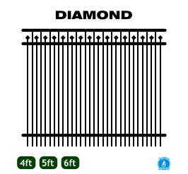 Aluminum Fence - Home Series - Diamond Style image