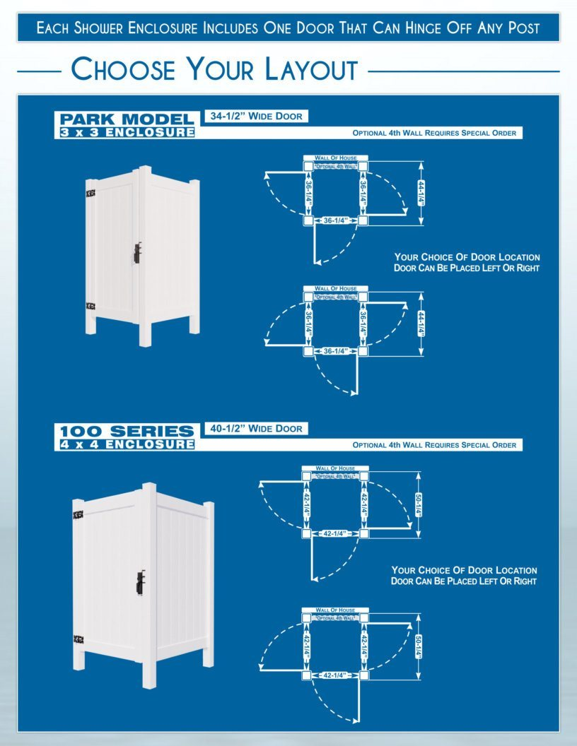 Outdoor Shower Enclosures - Layouts - Park Model and 100 Series image