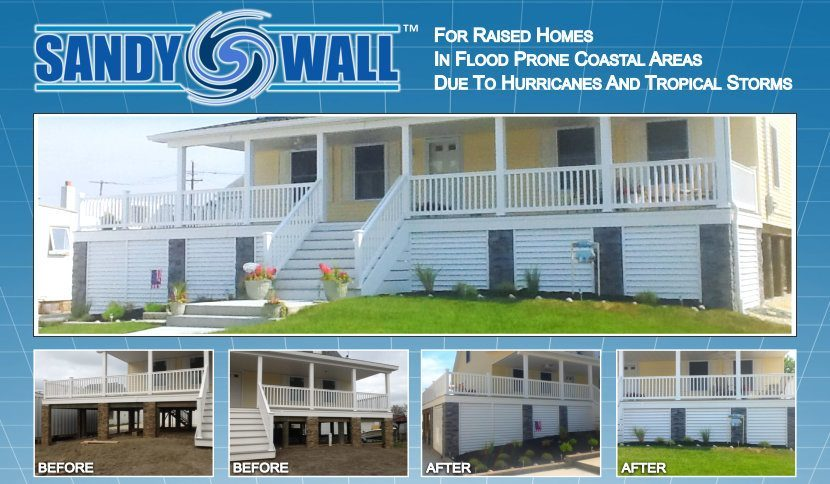 House shown with Sandy Wall Louvered Piling System installed including before and after photos image