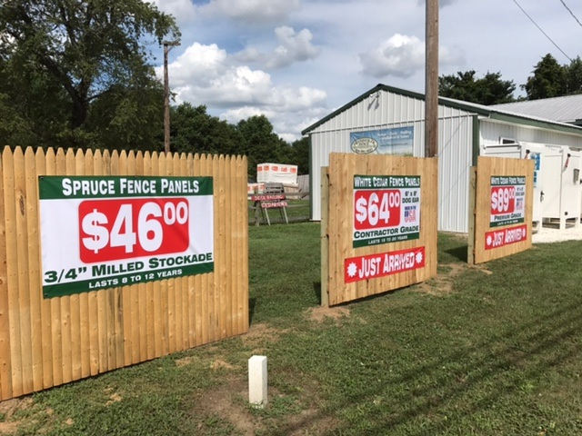White Cedar Fence Panels with Pricing Banners Display