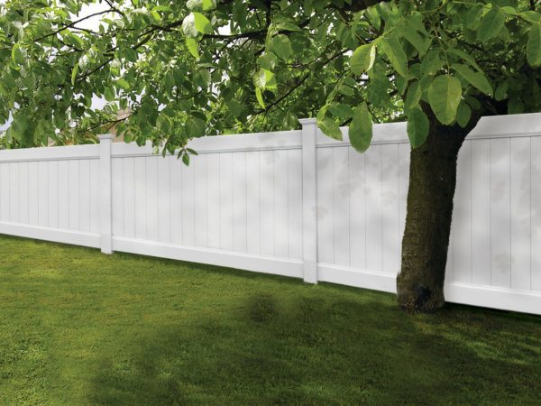 White Vinyl Privacy Fence by Dennisville Fence