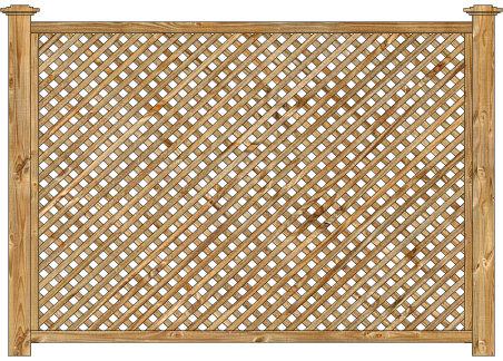 Wood Fence - Cedar Diagonal Lattice Panel Image