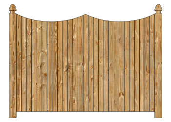 Wood fence, cedar double concave virginian privacy fence section image