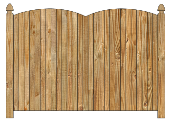 Wood fence, cedar double convex virginian privacy fence section image
