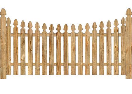 Wood Fence - Cedar Single Concave Georgian Spaced Picket Image