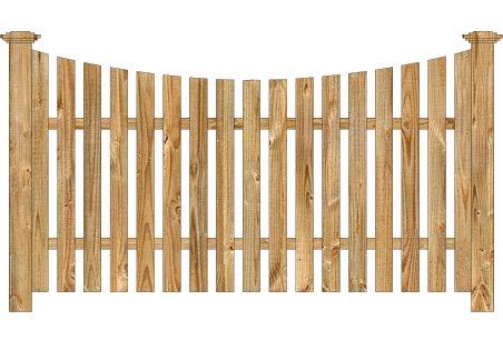 Wood Fence - Cedar Single Concave Virginian Spaced Picket Image