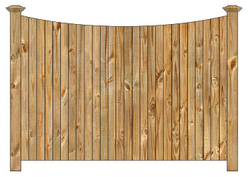 Wood fence, cedar single concave virginian - w210, privacy fence section image