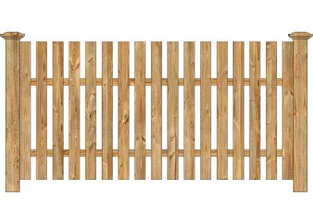 Wood Fence - Cedar Straight Virginian Spaced Picket Image