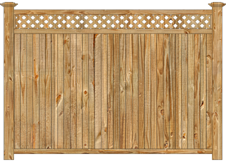 Privacy Wood Fence - W910 Cedar Tongue and Groove with Diagonal Lattice Wood Fence Image