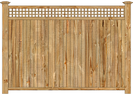 Privacy Wood Fence - W920 Cedar Tongue and Groove with Square Lattice Wood Fence Image