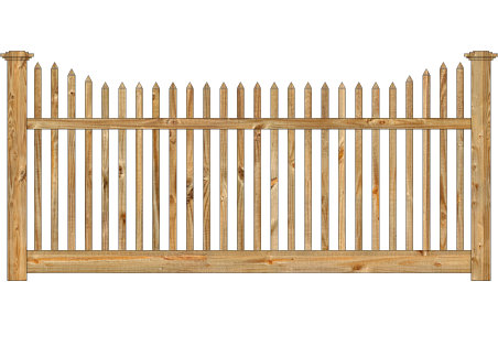 Wood Fence - Cedar Victorian Stepped Picket Image