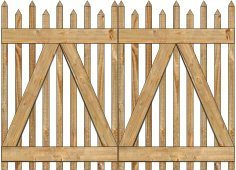 2-Rail Victorian Alternating Double Gate for Wood Fences Image