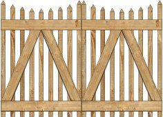 2-Rail Victorian Scalloped Double Gate for Wood Fences Image