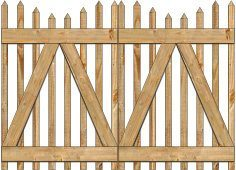 2-Rail Victorian Stepped Double Gate for Wood Fences Image