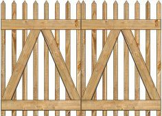 2-Rail Victorian Straight Double Gate for Wood Fences Image