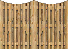 3-Rail Double Concave Board on Board Wood Gate for Wood Fences Image