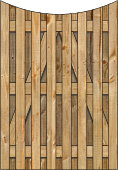3-Rail Single Concave Board on Board Wood Gate for Wood Fences Image