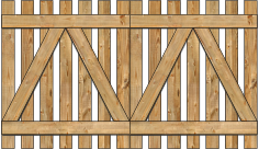 2-Rail Double Straight Virginian Spaced Picket Wood Gate For Wood Fences image