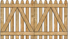 2-Rail Double Straight Simplicity Spaced Picket Wood Gate For Wood Fences image