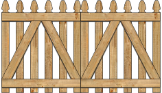 2-Rail Double Straight Georgian Spaced Picket Wood Gate For Wood Fences im