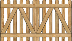 2-Rail Double Straight Contemporary Spaced Picket Wood Gate For Wood Fences image