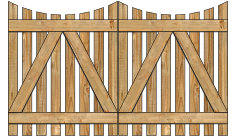 2-Rail Double Concave Virginian Spaced Picket Wood Gate For Wood Fences image
