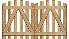 2-Rail Double Convex Virginian Spaced Picket Wood Gate For Wood Fences image