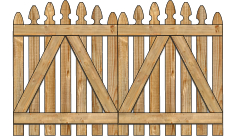 2-Rail Double Convex Georgian Spaced Picket Wood Gate For Wood Fences image