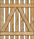2-Rail Single Straight Virginian Spaced Picket Wood Gate For Wood Fences image