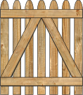 2-Rail Single Straight Simplicity Spaced Picket Wood Gate For Wood Fences image