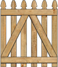 2-Rail Single Straight Georgian Spaced Picket Wood Gate For Wood Fences image