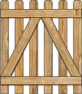 2-Rail Single Straight Contemporary Spaced Picket Wood Gate For Wood Fences image