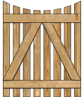 2-Rail Single Concave Virginian Spaced Picket Wood Gate For Wood Fences image