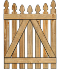 2-Rail Single Concave Georgian Spaced Picket Wood Gate For Wood Fences image