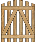 2-Rail Single Convex Virginian Spaced Picket Wood Gate For Wood Fences image