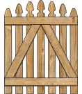 2-Rail Single Convex Georgian Spaced Picket Wood Gate For Wood Fences image
