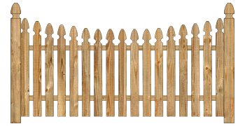 Spaced Picket Wood Fence - Cedar Single Concave Georgian W245 - image