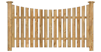 Spaced Picket Wood Fence - Cedar Single Concave Virginian W215 - image